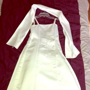 Satin White Flower Girl Dress